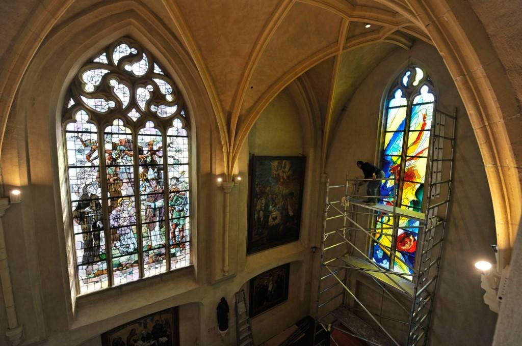 Het Thomas More-raam in de doopkapel van de Christoffelkathedraal. 2011