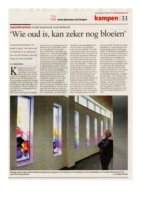 maart 2012 Amandelboom, uniek kunstwerk kerkzaal Kampen.