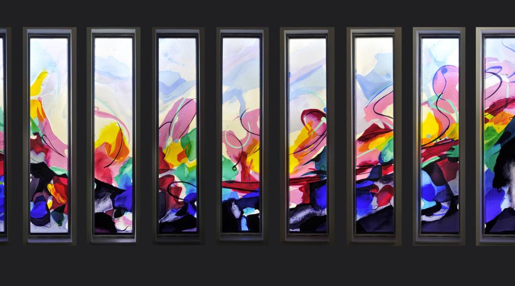 Negen ramen voor 'De Amandelboom' in Kampen | Atelier Galerie Annemiek Punt Ootmarsum Glas & Schilder Kunst