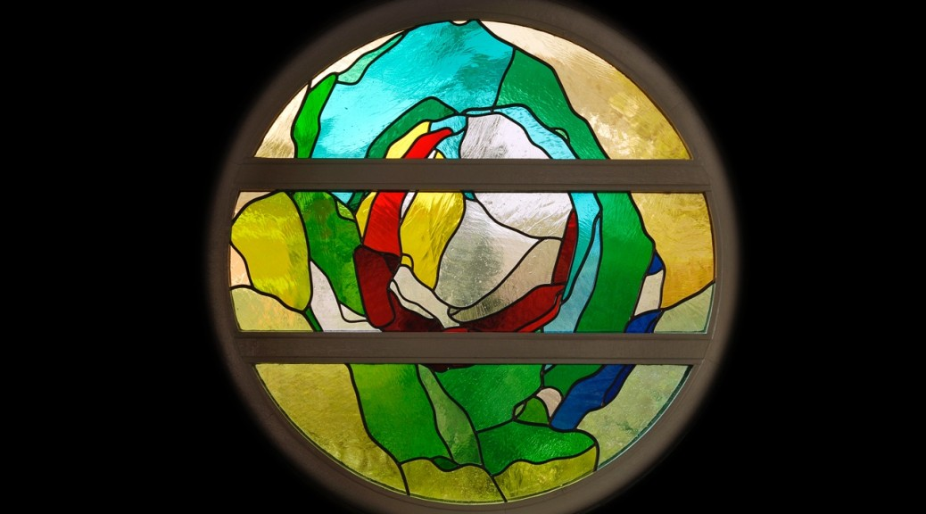 Glas-in-loodraam voor 'Het Brandpunt' Amersfoort | Atelier Galerie Annemiek Punt Ootmarsum Glas & Schilder Kunst