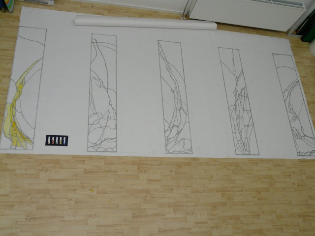 Ontwerpschetsen op ware grootte in ontwerp-atelier Annemiek Punt.