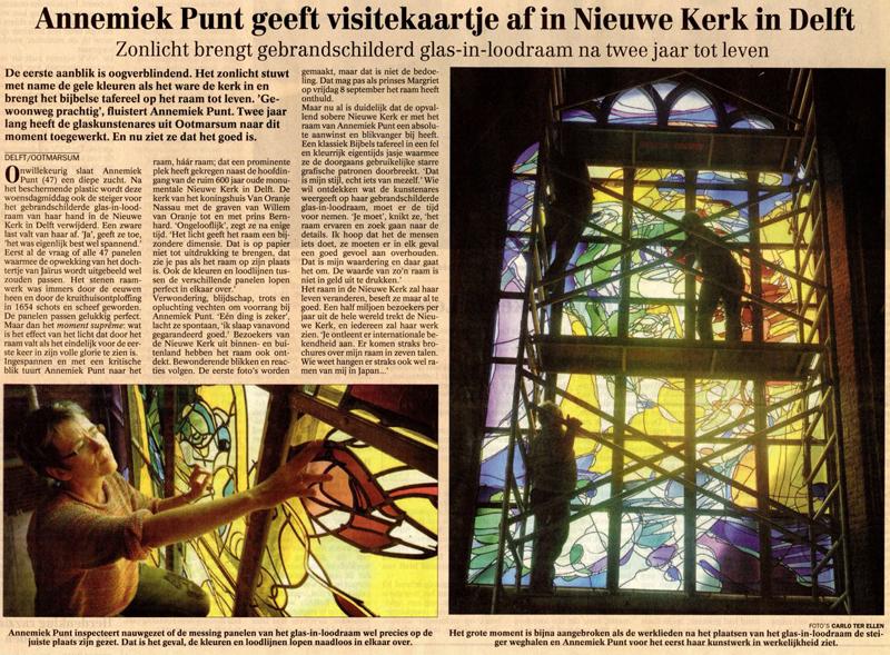 'Annemiek Punt geeft visitekaartje af in Nieuwe Kerk in Delft' | Atelier Galerie Annemiek Punt Ootmarsum Glas & Schilder Kunst