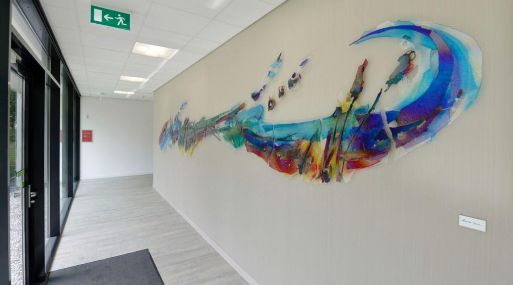 Glaskunstwerk van 7,5 meter breed | Atelier Galerie Annemiek Punt Ootmarsum, Glaskunst en Schilderkunst