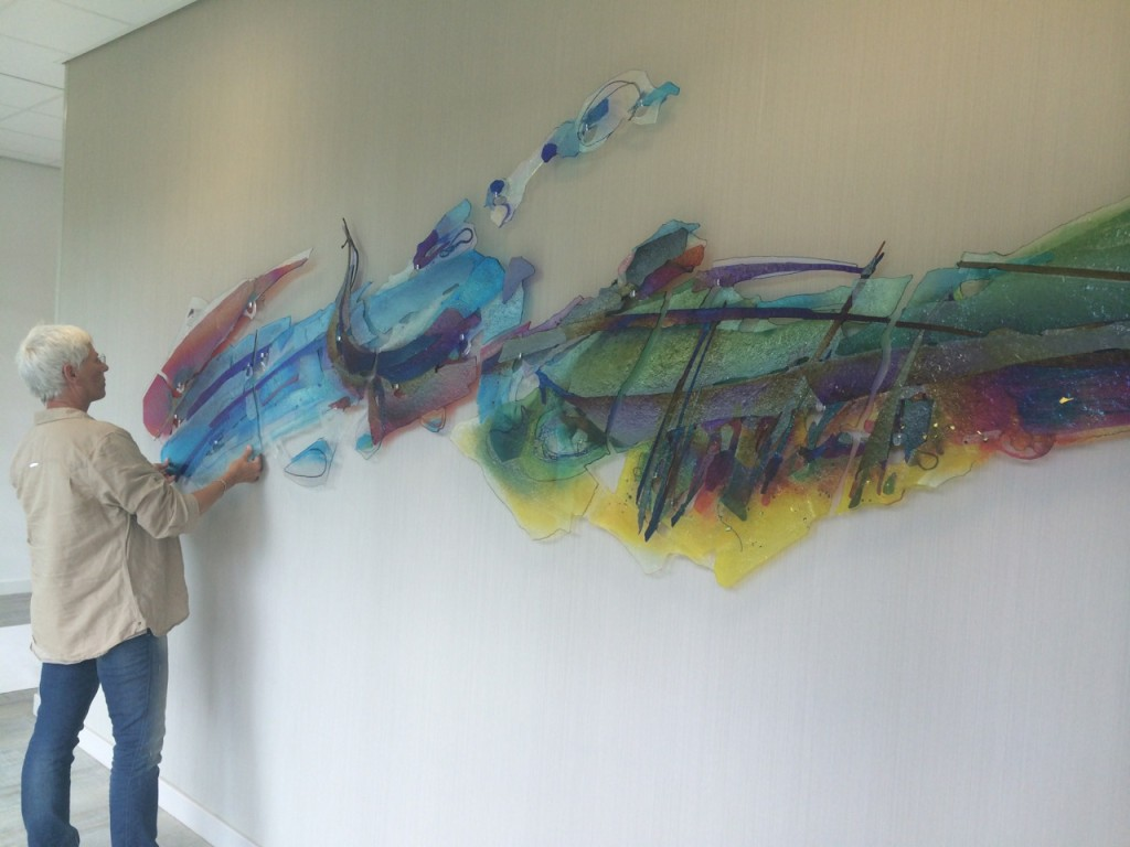 Dit kunstwerk is 7 meter breed! Te bezichtigen in het ZRTI in Roosendaal.