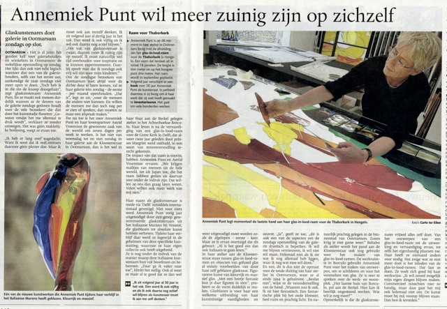 'Annemiek Punt wil meer zuinig zijn op zichzelf' | Atelier Galerie Annemiek Punt Ootmarsum Glas & Schilder Kunst