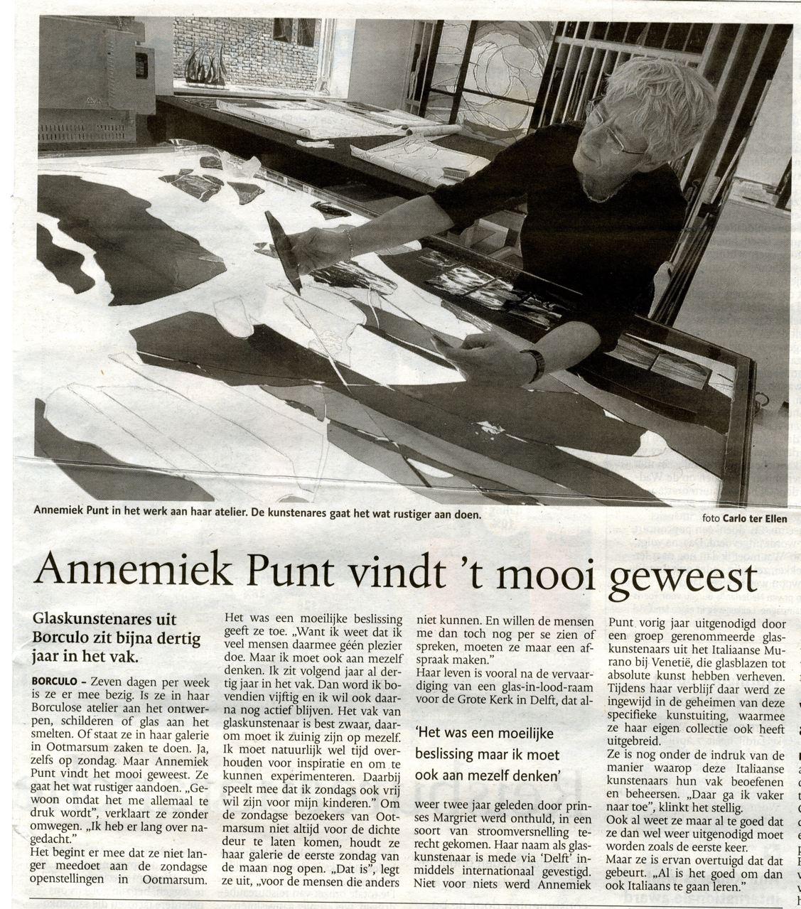 'Annemiek Punt vindt 't mooi geweest' | Atelier Galerie Annemiek Punt Ootmarsum Glas & Schilder Kunst