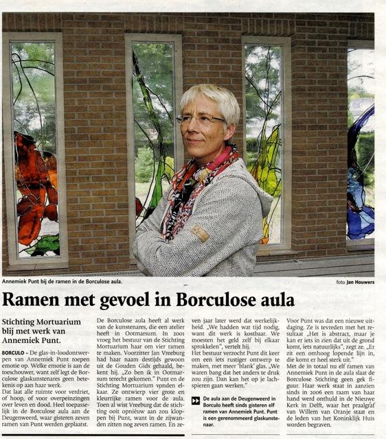 'Ramen met gevoel in Borculose aula' | Atelier Galerie Annemiek Punt Ootmarsum Glas & Schilder Kunst