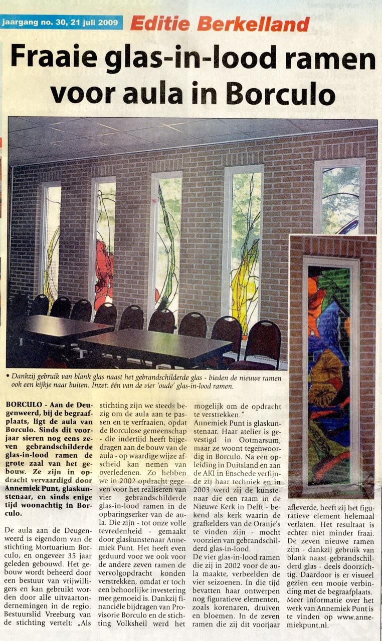 'Fraaie glas-in-lood ramen voor aula in Borculo' | Atelier Galerie Annemiek Punt Ootmarsum Glas & Schilder Kunst