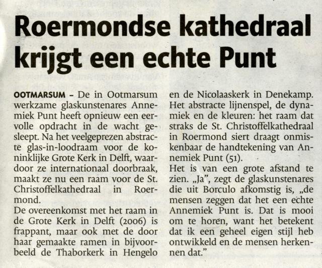 'Roermondse kathedraal krijgt een echte Punt' | Atelier Galerie Annemiek Punt Ootmarsum Glas & Schilder Kunst