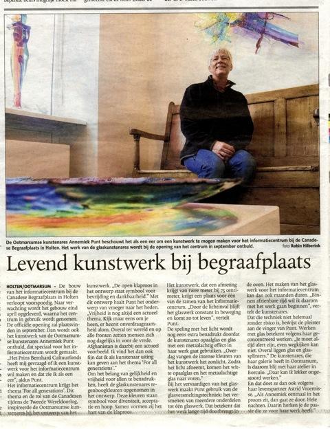 'Levend kunstwerk bij begraafplaats' | Atelier Galerie Annemiek Punt Ootmarsum Glas & Schilder Kunst