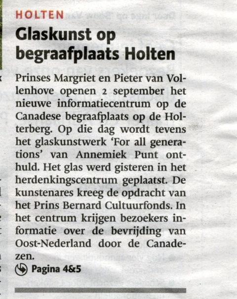 'Glaskunst op begraafplaats Holten' | Atelier Galerie Annemiek Punt Ootmarsum Glas & Schilder Kunst