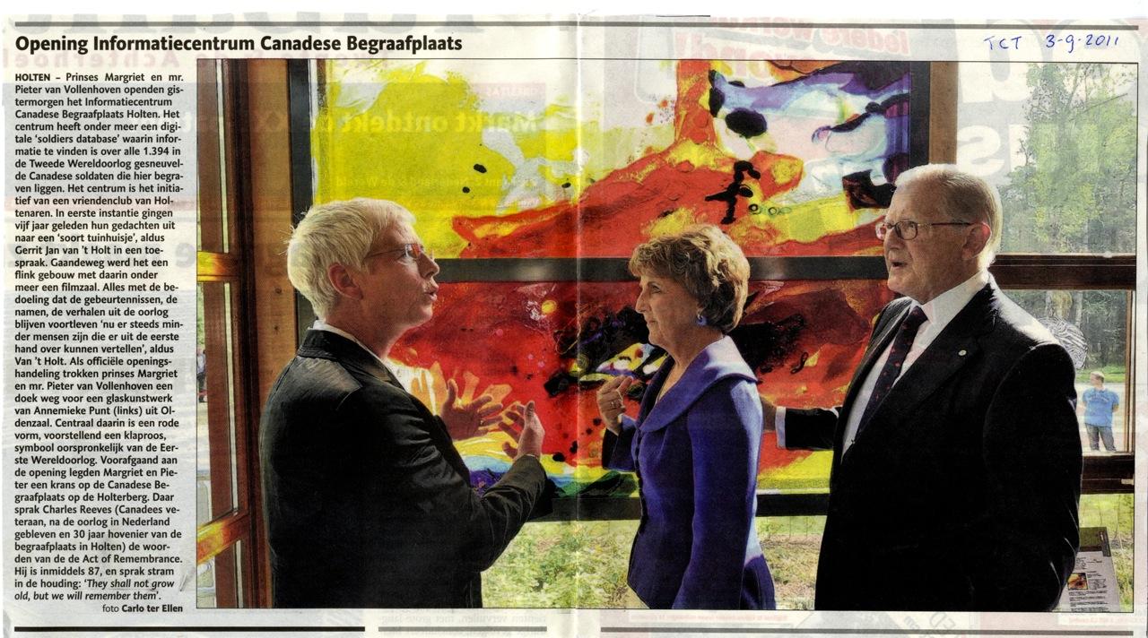 'Opening informatiecentrum Canadese begraafplaats' | Atelier Galerie Annemiek Punt Ootmarsum Glas & Schilder Kunst