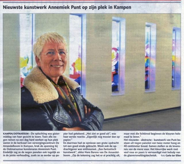 'Nieuwste kunstwerk Annemiek Punt op zijn plek in Kampen'