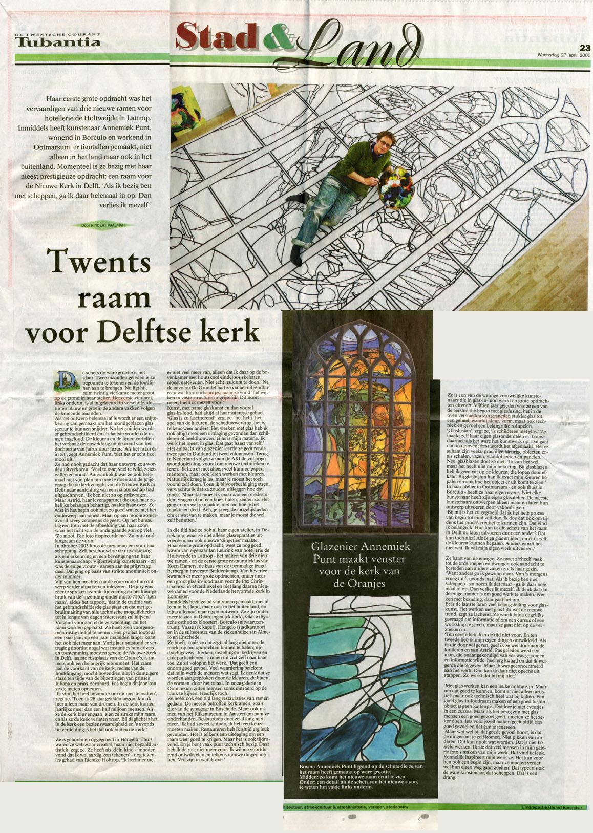 'Twents raam voor Delftse kerk'
