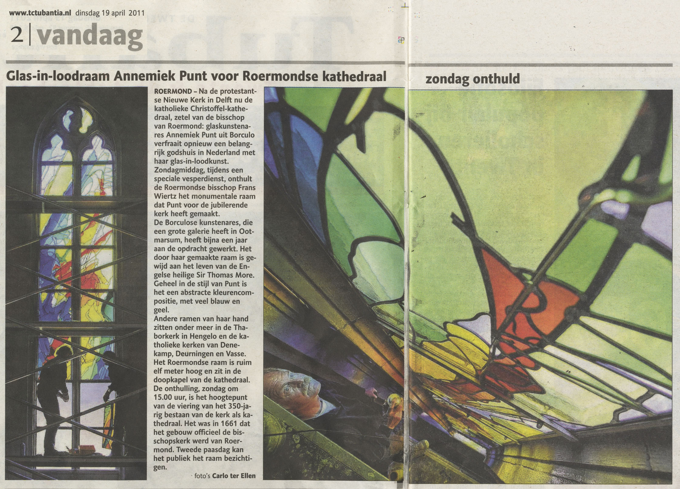 'Glas-in-loodraam Annemiek Punt voor Roermondse kathedraal zondag onthuld' | Atelier Galerie Annemiek Punt Ootmarsum Glas & Schilder Kunst