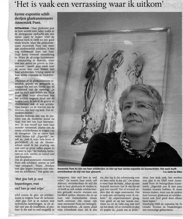 'Het is vaak een verrassing waar ik uitkom' | Atelier Galerie Annemiek Punt Ootmarsum Glas & Schilder Kunst