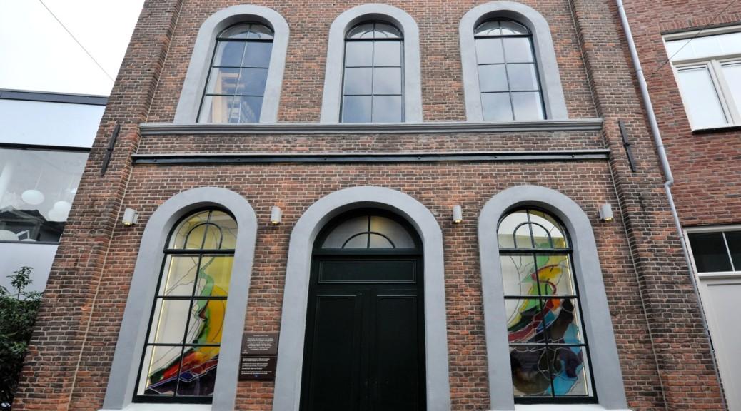 Kunstwerk in de oude Joodse school in Enschede