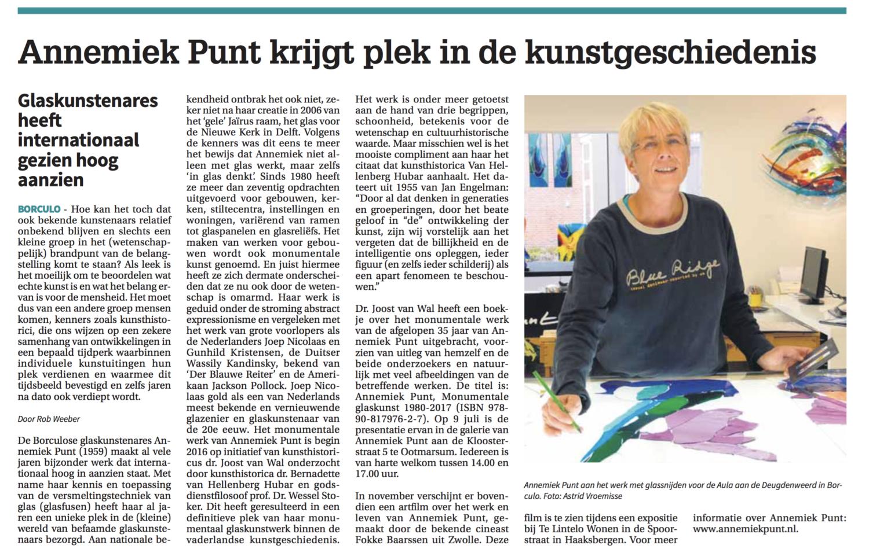 'Annemiek Punt krijgt plek in de kunstgeschiedenis' | Atelier Galerie Annemiek Punt Ootmarsum Glas & Schilder Kunst