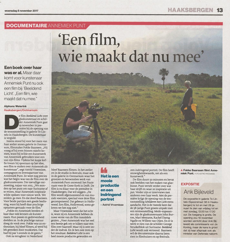 'Een film, wie maakt dat nu mee' | Atelier Galerie Annemiek Punt Ootmarsum Glas & Schilder Kunst