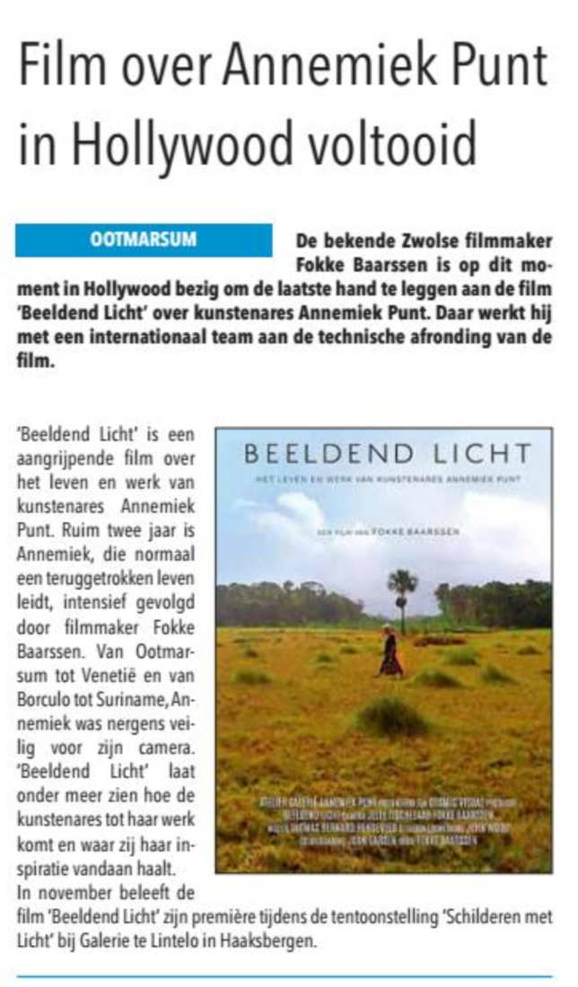 'Film over Annemiek Punt in Hollywood voltooid'