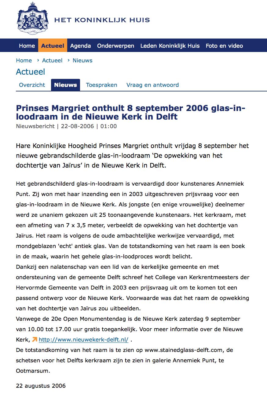 'Prinses Margriet onthult glas-in-loodraam Nieuwe Kerk Delft'