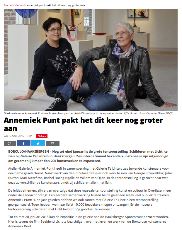 'Annemiek Punt pakt het dit keer nog groter aan' | Atelier Galerie Annemiek Punt Ootmarsum Glas & Schilder Kunst